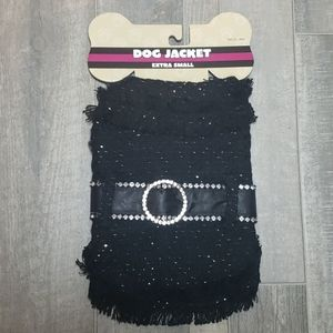 DOG JACKET Black with Faux Diamonds Black Size XS